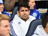 Diego Costa watches on from the bench during Chelsea's game at Spurs on November 29, 2015