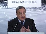 Real Madrid CF president Florentino Perez gives a press conference at Estadio Santiago Bernabeu on November 23, 2015