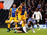 Scott Parker (R) of Fulham challenges Eoin Doyle (L) of Preston North End during the Sky Bet Championship match between Fulham and Preston North End at Craven Cottage on November 28, 2015