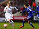 Gemma Davison of England tracked by Milena Nikolic of Bosnia and Herzegovina during the UEFA Women's Euro 2017 Qualifier match between England and Bosnia and Herzegovina at Ashton Gate on November 29, 2015 in Bristol, England.