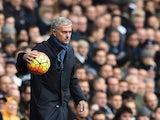 Chelsea boss Jose Mourinho handles the ball on November 29, 2015