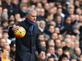 Chelsea boss Jose Mourinho handles the ball on November 29, 2015