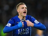 Jamie Vardy of Leicester City celebrates scoring his team's first goal during the Barclays Premier League match between Leicester City and Manchester United at The King Power Stadium on November 28, 2015 in Leicester, England.