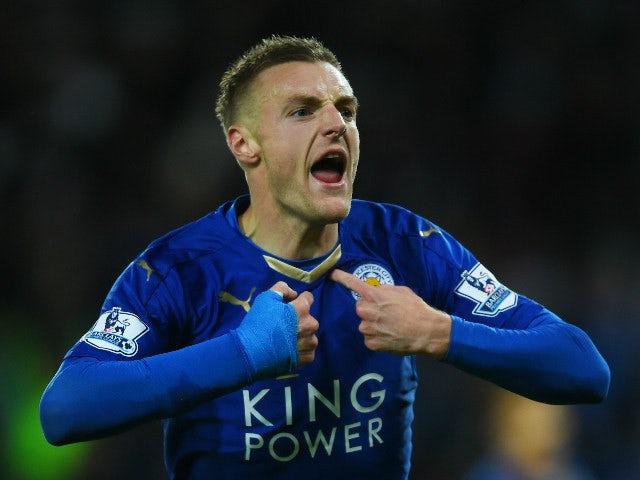 c338bcebb Jamie Vardy of Leicester City celebrates scoring his team s first goal  during the Barclays Premier League