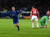 Leicester City's English striker Jamie Vardy (L) celebrates after scoring during the English Premier League football match between Leicester City and Manchester United at the King Power Stadium in Leicester, central England on November 28, 2015.