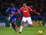 Anthony Martial of Manchester United and Ngolo Kante of Leicester City compete for the ball during the Barclays Premier League match between Leicester City and Manchester United at The King Power Stadium on November 28, 2015 in Leicester, England.