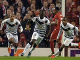 Bordeaux's French forward Henri Saivet (C) celebrates after scoring during a UEFA Europa League group B football match between Liverpool and Bordeaux at Anfield in Liverpool, north west England, on November 26, 2015.