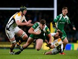 Johnny Williams of London Irish look to break the Wasps defence line during the Aviva Premiership match between London Irish and Wasps at Twickenham Stadium on November 28, 2015 in London, England.
