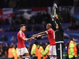 Ashley Young of Manchester United replaces Memphis Depay as a substitute during the UEFA Champions League Group B match between Manchester United FC and PSV Eindhoven at Old Trafford on November 25, 2015
