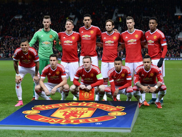 The Manchester United team pose for a picture ahead of the start of the UEFA Champions League Group B football match between Manchester United and PSV Eindhoven at the Old Trafford Stadium in Manchester, north west England on November 25, 2015