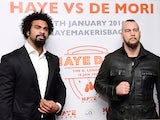David Haye and Mark De Mori pose during a press conference at The O2 Arena on November 24, 2015