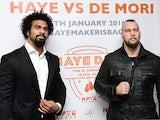 David Haye and Mark De Mori pose during a press conference at The O2 Arena on November 24, 2015