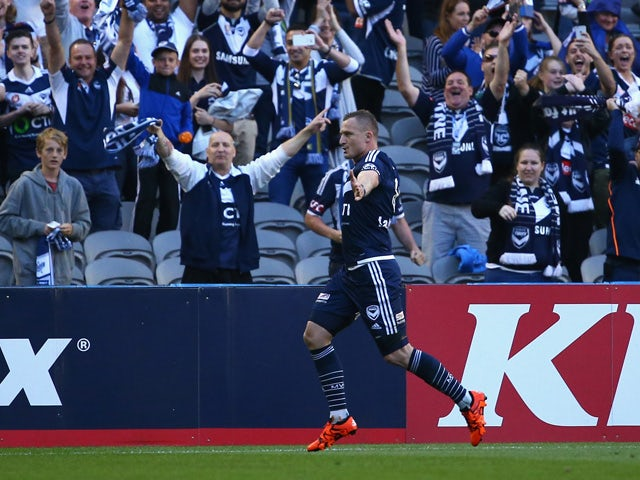Besart Berisha of the Victory celebrates after scoring a goal during the round eight A-League match between Melbourne City FC and Adelaide United at Etihad Stadium on November 28, 2015