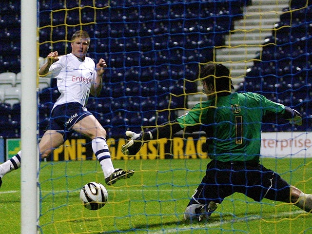 Neil Mellor of Preston scores during the Carling Cup first round match between Preston North End and Chesterfield at Deepdale Stadium on August 12, 2008