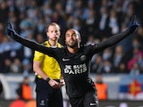 Paris Saint-Germain`s Brazilian midfielder Lucas celebrates after scoring a goal during the UEFA Champions League Group A, second-leg football match Malmo FF vs Paris Saint-Germain (PSG) in Malmo, Sweden on November 25, 2015