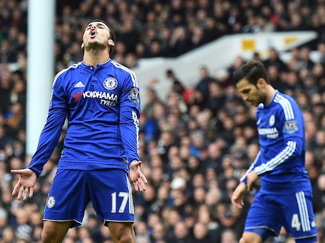 Pedro reacts to a missed shot during the game between Chelsea and Spurs on November 29, 2015