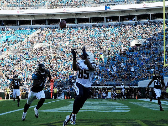 Antonio Gates #85 of the San Diego Chargers scores a touchdown in the second quarter against the Jacksonville Jaguars at EverBank Field on November 29, 2015