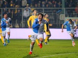 Alberto Paloschi of AC Chievo Verona celebrates after scoring the opening goal from penalty spot during the Serie A match between Frosinone Calcio and AC Chievo Verona at Stadio Matusa on December 6, 2015 in Frosinone, Italy.