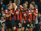 Bournemouth's English striker Glenn Murray (2L) celebrates after scoring during the English Premier League football match between Chelsea and Bournemouth at Stamford Bridge in London on December 5, 2015.