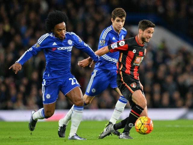 Chelsea's Brazilian midfielder Willian (L) holds Bournemouth's South African-born English midfielder Andrew Surman during the English Premier League football match between Chelsea and Bournemouth at Stamford Bridge in London on December 5, 2015.