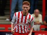 Dale Gorman of Stevenage in action during a pre-season friendly match between Stevenage and Tottenham XI at the Lamax Stadium on August 1, 2015 in Stevenage, England.