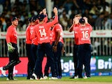 England celebrate taking the wicket of Shahid Afridi during the 3rd International T20 match between Pakistan and England at Sharjah Cricket Stadium on November 30, 2015 in Sharjah, United Arab Emirates.