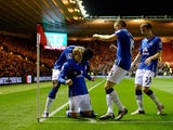 Gerard Deulofeu of Everton celebrates his goal during the Capital One Cup Quarter Final match between Middlesbrough v Everton at The Riverside Stadium on December 01, 2015 in Middlesbrough, England.