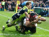 Sione Kalamafoni of Gloucester dives over for a try during the Aviva Premiership match between Gloucester and Sale Sharks at Kingsholm on December 4, 2015
