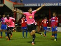 Jordan Rose of Whitehawk celebrates after he scores a last minute equaliser during the Emirates FA Cup Second Round match between Dagenham & Redbridge and Whitehawk at The Chigwell Construction Stadium on December 06, 2015 in Dagenham, England.