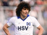 Kevin Keegan in action for SV Hamburg during a German League match