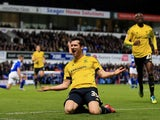David Nugent of Middlesbrough celebrates scoring his teams second goal during the Sky Bet Championship match between Ipswich Town and Middlesbrough at Portman Road stadium on December 4, 2015