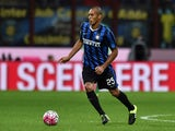 Joao Miranda of Internazionale Milano in action during the Serie A match between FC Internazionale Milano and Hellas Verona FC at Stadio Giuseppe Meazza on September 23, 2015