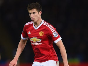 Paddy McNair of Manchester United in action during the Barclays Premier League match between Leicester City and Manchester United at The King Power Stadium on November 28, 2015 in Leicester, England.