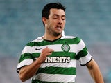 Richie Towell of Celtic and Josh Rose of the Mariners compete for the ball during the international friendly club match between the Central Coast Mariners and Glasgow Celtic at ANZ Stadium on July 2, 2011 in Sydney, Australia.