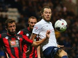Stevie May of Preston North End and Steve Cook of Bournemouth battle for the abll during the Capital One Cup third round match between Preston North End and AFC Bournemouth at Deepdale on September 22, 2015