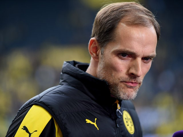 Dortmund's head coach Thomas Tuchel looks on prior the German first division football Bundesliga match Borussia Dortmund vs FC Schalke 04 on November 8, 2015, 2015