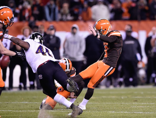 Travis Coons #6 of the Cleveland Browns has his field goal blocked during the fourth quarter against the Baltimore Ravens FirstEnergy Stadium on November 30, 2015 in Cleveland, Ohio. Baltimore won the game 33-27.
