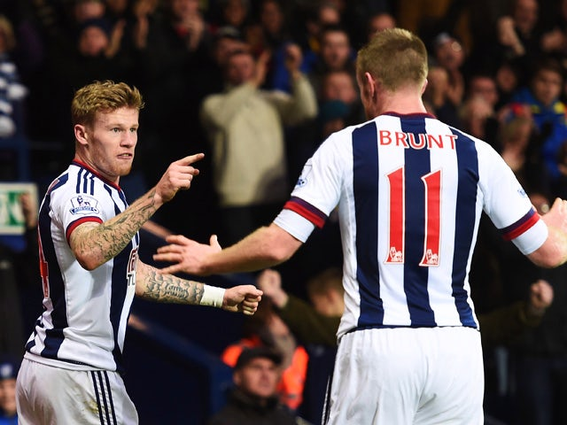James McClean (L) of West Bromwich Albion celebrates scoring his team's first goal with his team mate Chris Brunt (R) during the Barclays Premier League match between West Bromwich Albion and Tottenham Hotspur at The Hawthorns on December 5, 2015
