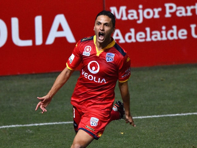 Marcelo Carrusca of United reacts after scoring a goal from a penalty kick during the round 10 A-League match between Adelaide United and Sydney FC at Coopers Stadium on December 11, 2015