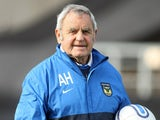 Oxford United goalkeeper coach Alan Hodgkinson in action prior to the npower League Two match between Oxford United and Northampton Town at the Kassam Stadium on October 23, 2010 in Oxford, England