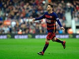 FC Barcelona's Argentinian forward Lionel Messi celebrates a goal during the Spanish league football match FC Barcelona vs RC Deportivo La Coruna at the Camp Nou stadium in Barcelona on December 12, 2015