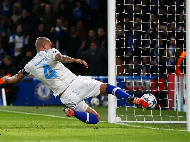 Maicon of FC Porto fails to stop Ivan Marcano Sierra of FC Porto from scoring an own goal during the UEFA Champions League Group G match between Chelsea FC and FC Porto at Stamford Bridge on December 9, 2015 in London, United Kingdom.