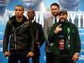 Boxer Chris Eubank Jr, his father English, promoter Eddie Hearn and boxer Gary 'Spike' O'Sullivan pose ahead of their fight during the Anthony Joshua & Dillian Whyte Head-to-Head Press Conference at the Four Seasons Hotel on December 10, 2015