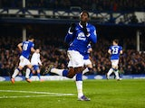 Romelu Lukaku of Everton celebrates scoring the equalising goal during the Barclays Premier League match between Everton and Crystal Palace at Goodison Park on December 7, 2015