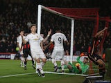 Guillermo Varela of Manchester United reacts after Bournemouth's first goal during the Barclays Premier League match between A.F.C. Bournemouth and Manchester United at Vitality Stadium on December 12, 2015 in Bournemouth, United Kingdom.