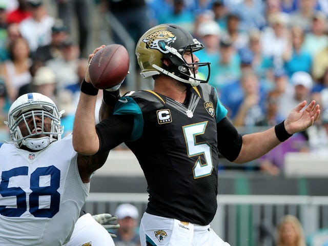 Trent Cole #58 of the Indianapolis Colts pressures Blake Bortles #5 of the Jacksonville Jaguars during the game at EverBank Field on December 13, 2015