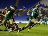Andrew Fenby of London Irish runs in a try during the European Rugby Challenge Cup match between London Irish and Edinburgh Rugby at Madejski Stadium on December 12, 2015