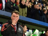 Manchester United's Dutch manager Louis van Gaal is pictured during the UEFA Champions League Group B second-leg football match VfL Wolfsburg vs Manchester United in Wolfsburg, central Germany, on December 8, 2015.