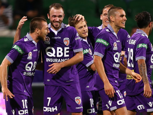 Nebojsa Marinkovic of the Glory celebrates a goal with team mates during the round 10 A-League match between the Perth Glory and the Central Coast Mariners at nib Stadium on December 12, 2015