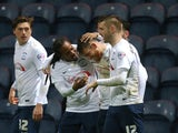 Joe Garner of Preston North End celebrates with team mates after scoring from the penalty spot during the Sky Bet Championship match between Preston North End and Reading at Deepdale on December 12, 2015